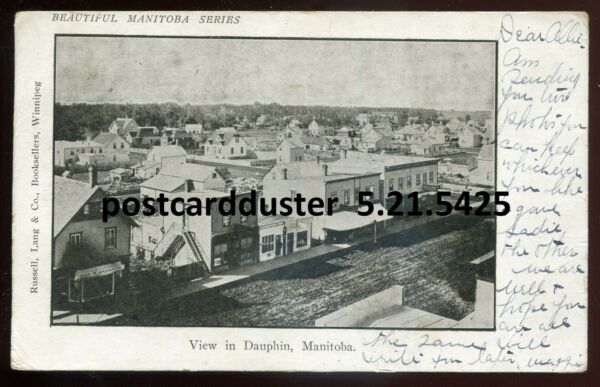 5425 DAUPHIN Manitoba Postcard 1907 Street View. Stores by Russell Lang
