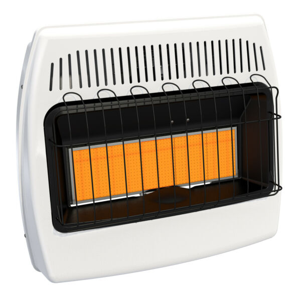 Wall Heater Natural Gas Infrared Vent Free Variable Control Knob 30000 BTU White $202.42