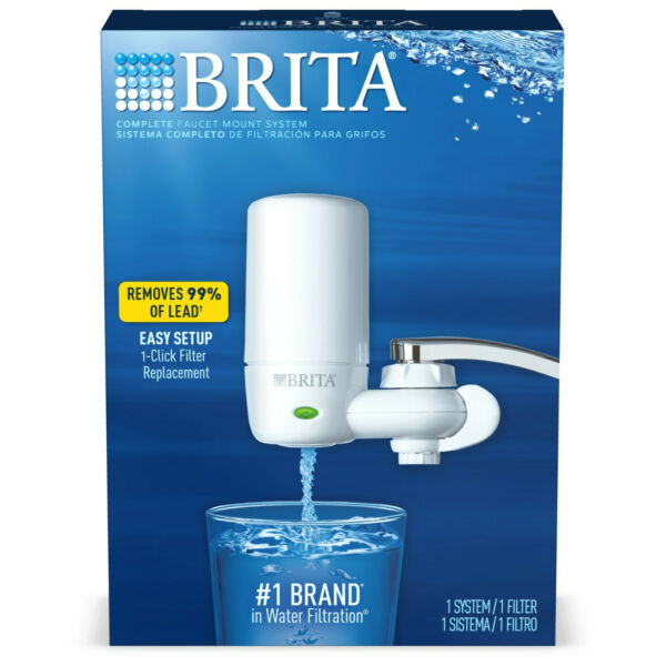 BRITA 42201 FAUCET MOUNT FILTRATION SYSTEM w 1 FILTER WHITE NEW