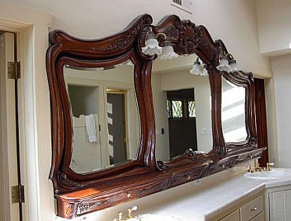 Antique French Over Counter Mirror with Lights #6188