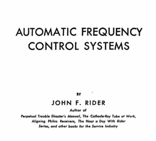 Automatic Frequency Control Systems by Rider * CDROM * PDF
