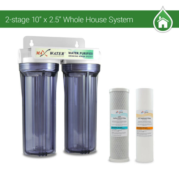 2 Stage10quot; Whole House Water Filter Sediment Carbon Filter RVS Well Pool Boiler