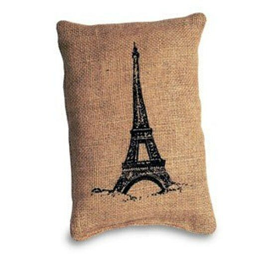 Pillow Small Accent quot;Pillowquot; Eiffel Tower Printed on Burlap 6quot; x 9quot;