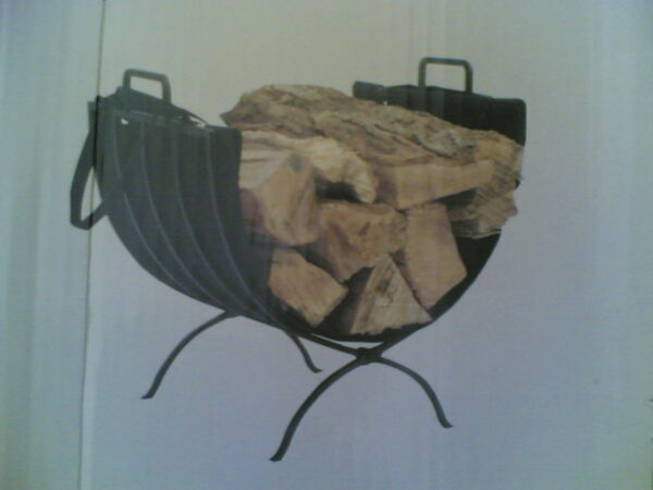 NIB 20quot; Fireplace Metal LOG RACK Caddy Holder with Canvas Tote
