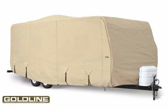 Goldline Premium RV Cover Travel Trailer Camper Fits 40 41 42 foot Color Tan
