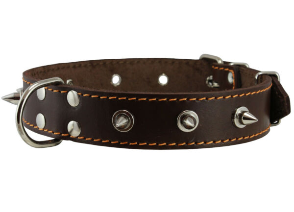 Real Leather Brown Spiked Dog Collar Spikes 1.25quot; Wide. Fits 15.5quot; 20quot; Neck $17.95
