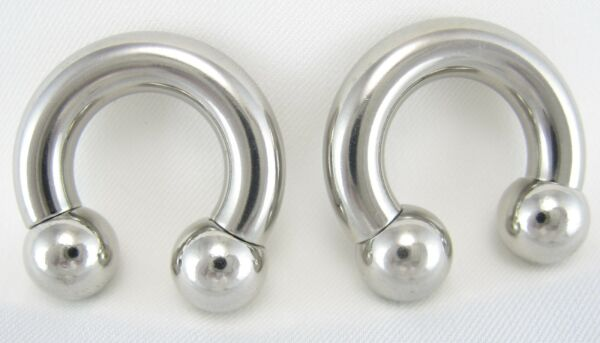 1 Pair Surgical Steel Horseshoe Barbell Nipple Ear Rings Lip 16G To 00G Gauges
