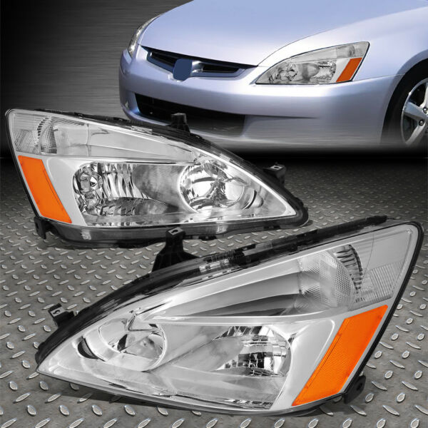 FOR 03 07 HONDA ACCORD CHROME HOUSING AMBER CORNER HEADLIGHT REPLACEMENT LAMPS