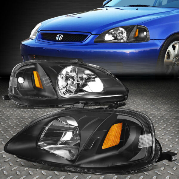 FOR 99 00 HONDA CIVIC BLACK HOUSING AMBER CORNER HEADLIGHT REPLACEMENT HEADLAMP