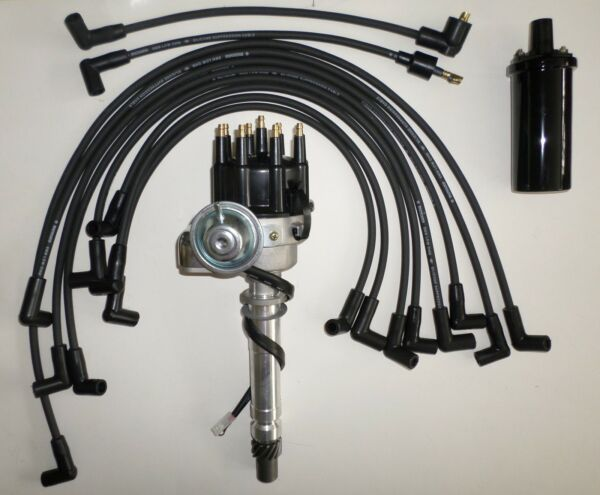 SMALL BLOCK CHEVY Black Small HEI Distributor +PLUG WIRES over VC+Black 45k Coil