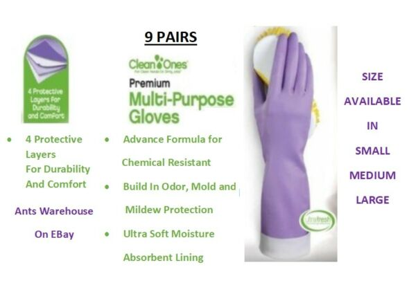 9 Pairs Clean Ones Premium Multi Purpose Rubber Gloves hand dish washing- LMS