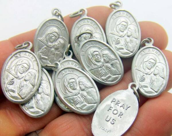 MRT 10 St Anne Mothers Saint Silver Tone Aluminum Medal Catholic Gift 3 4quot; Italy $11.48