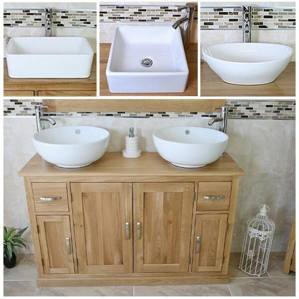 Solid Oak Bathroom Vanity Unit Cabinet Twin Ceramic Bowl Basin Tap Plug 402 A