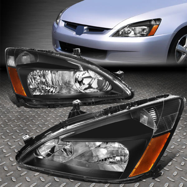 FOR 03 07 HONDA ACCORD BLACK HOUSING AMBER CORNER HEADLIGHT REPLACEMENT LAMPS