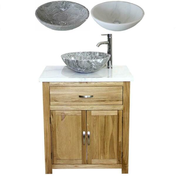Bathroom Vanity Unit Oak Cabinet Wash Stand White Grey Marble Stone Basin 502 A