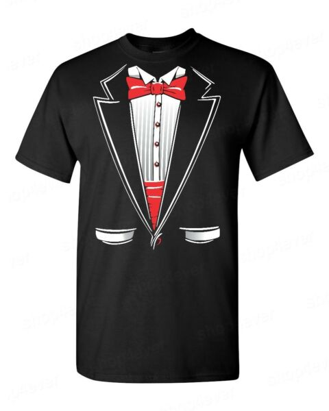 Classic Tuxedo Costume T-Shirt Funny Wedding Prom Suit Red Bowtie Novelty Tees