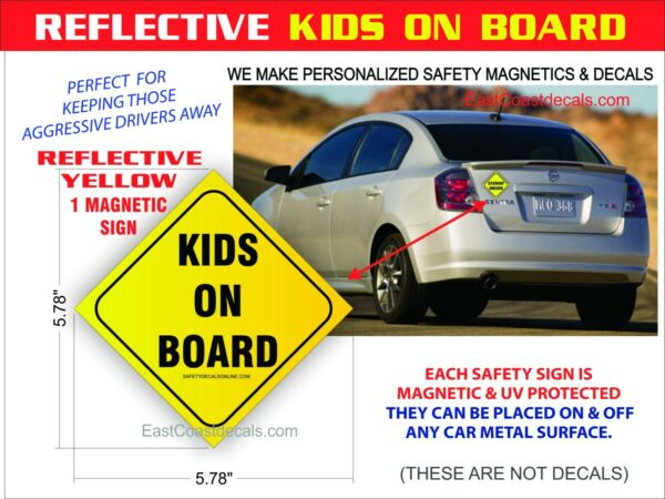 KIDS ON BOARD SAFETY REFLECTIVE Magnetic Sign NEW Heavy Duty On