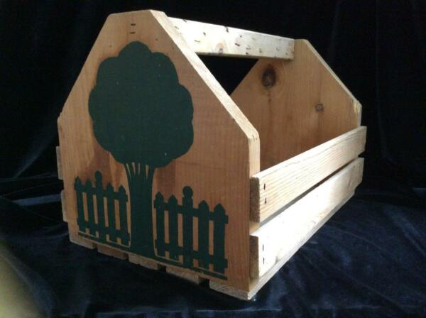 Wooden CrateCarrierBasket with Handle and Tree Design on Both Ends