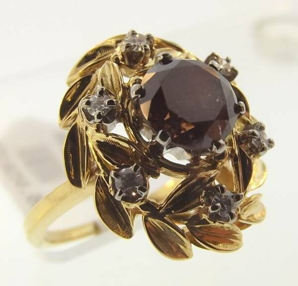 18KT YELLOW GOLD 1.40 CTTW RED DIAMOND COCKTAIL RING SIZE 7 CERT (M 999-10080)