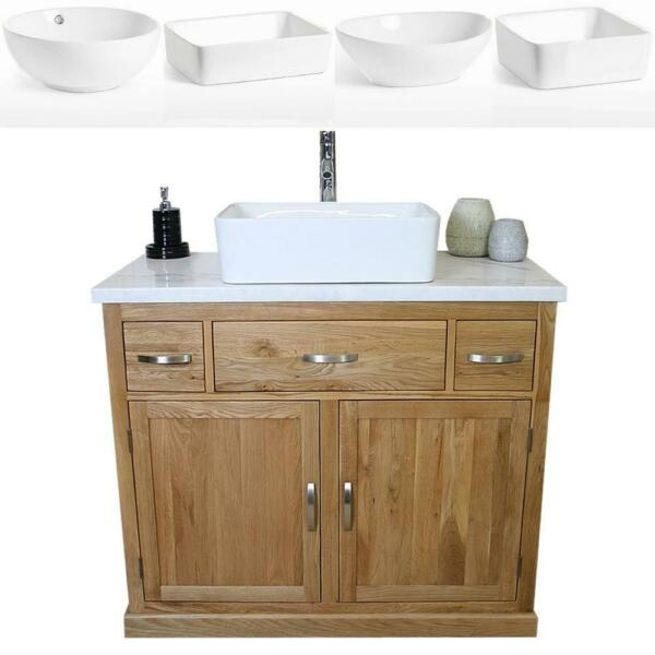 Bathroom Vanity Unit Oak Cabinet Wash Stand White Marble & Ceramic Basin 1161