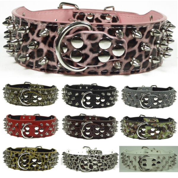 Brand New Leather Dog Collar Spikes amp; Studs Collars Pit Bull Dog Terrier Boxer GBP 11.99
