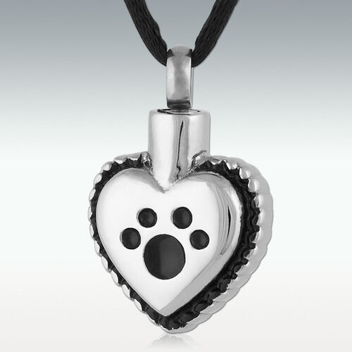 Ornate Heart Paw Dog Silver Black Stainless Steel Cremation Urn Pendant Necklace $12.00
