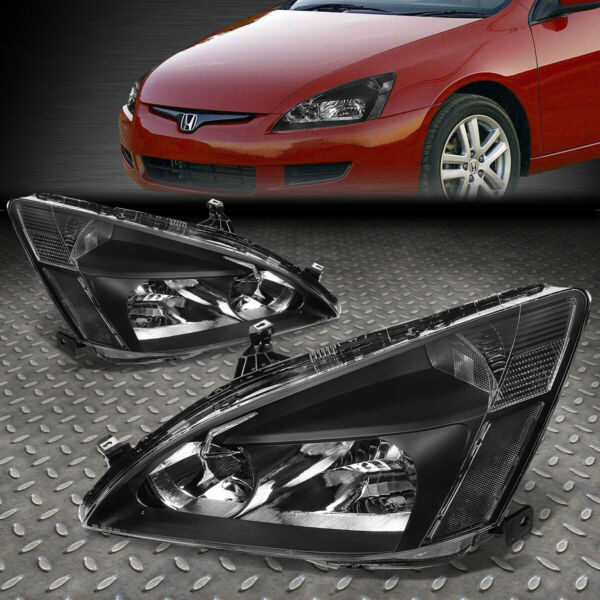 FOR 03-07 HONDA ACCORD BLACK HOUSING CLEAR CORNER HEADLIGHT REPLACEMENT LAMPS
