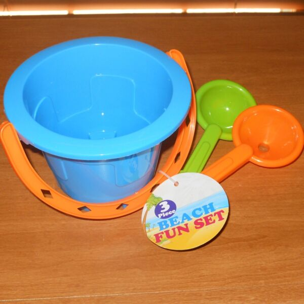 3 Pc TOY SAND BEACH FUN SET PAIL & TOOLS SHOVEL SIFTER BLUE Fast FREE USA S&H