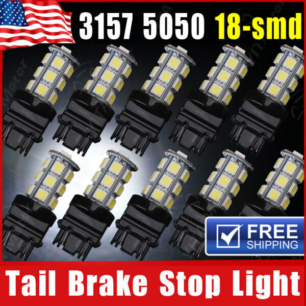 10x White 3157 18 SMD LED Tail Brake Stop Backup Reverse Turn Signal Light Bulbs