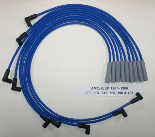 AMC/JEEP 1967-1990 290,304,343,360,390& 401 BLUE HEI  8mm SPARK PLUG WIRES USA!!