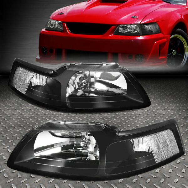 FOR 1999-2004 FORD MUSTANG PAIR BLACK HOUSING CLEAR CORNER HEADLIGHT/LAMP SET