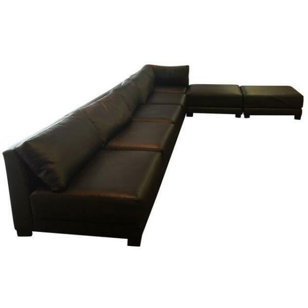 Seven Piece Sectional Sofa (Covered in Black Vinyl)