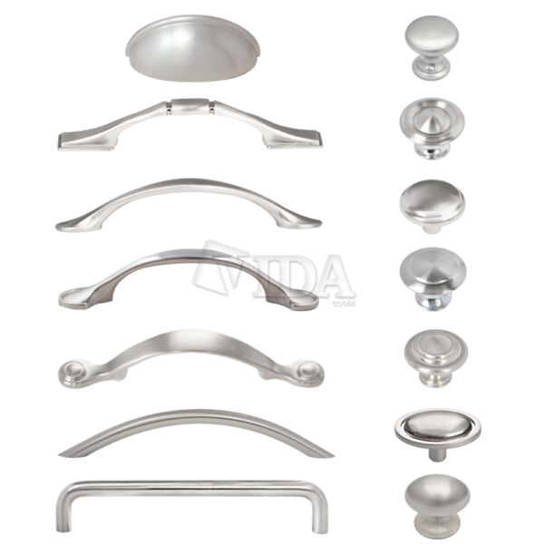 Satin Nickel / Brushed Nickel Kitchen Cabinet Drawer Pull Handles Knobs Hardware