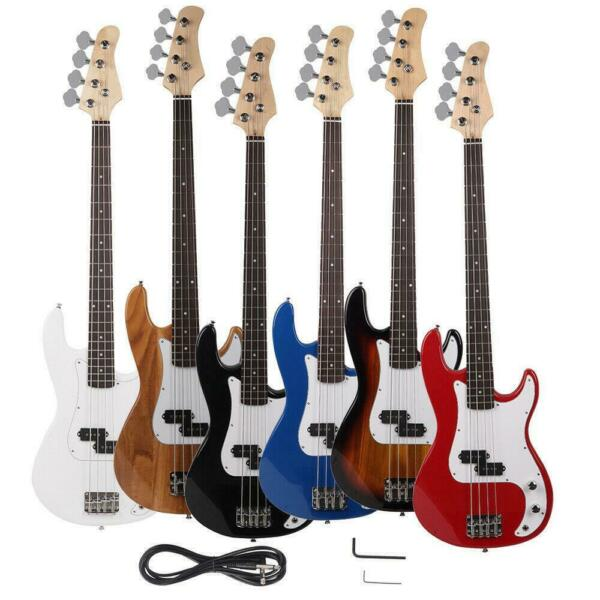 New Vintage Brand 4 String Electric Bass Guitar Black Blue White Red Yellow