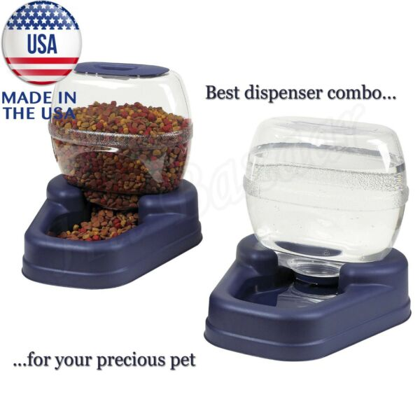 AUTOMATIC PET FOOD DISPENSER Dog Cat Feeder Waterer Auto Dish Bowl Combo Pack