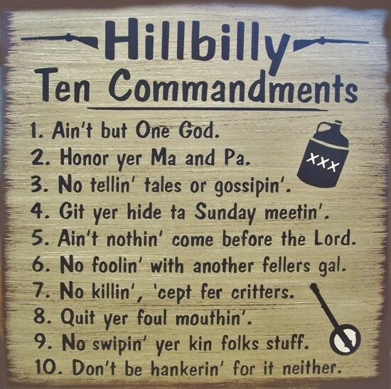 Hillbilly 10 Commandments Primitive Country Canvas Sign Home Decor