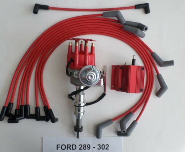 SMALL BLOCK FORD 289-302 Small HEI Distributor RED COIL +PLUG WIRES UPGRADE KIT