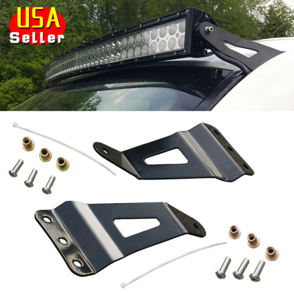 52Inch Curved LED Light Bar Windshield Mounting Brackets For 99-13 GMC/ Chevy