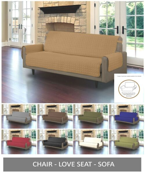 Quilted Microfiber Pet Dog Couch Sofa Furniture Protector Cover w Tucks amp; Strap $24.99