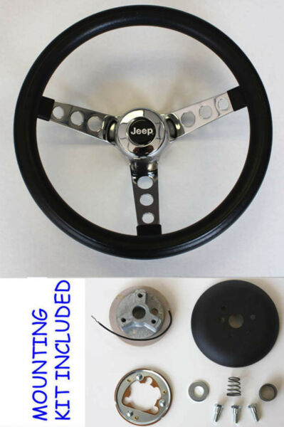 1976-1995 Jeep CJ5 CJ7 YJ Classic GRANT Black Steering Wheel 13 12