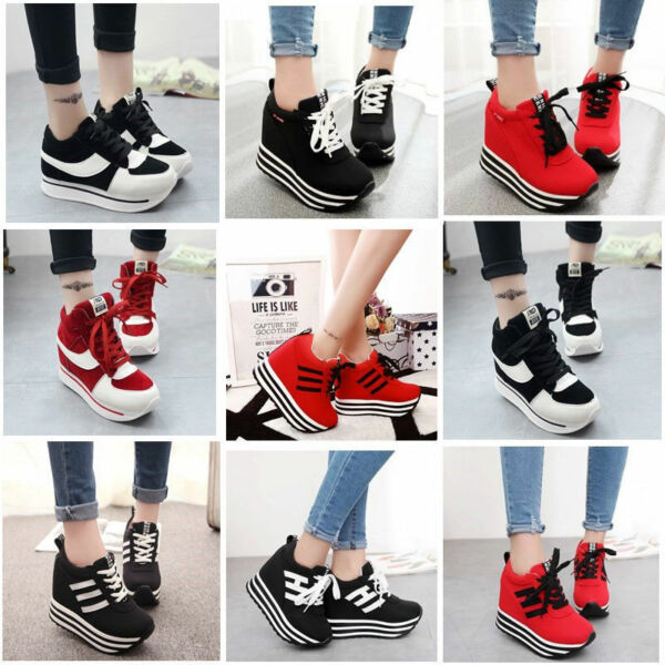 Womens/Students Lace Up High Platform Wedge Sneakers Trainer shoes Casual WW6