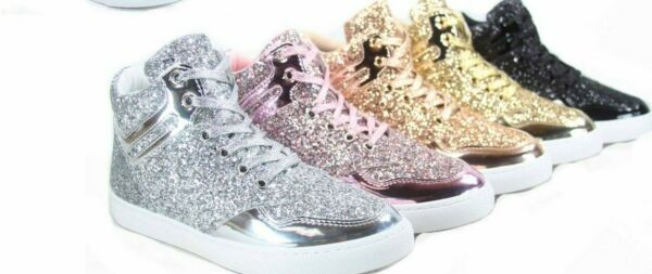 NEW Women's Fashion Glitter High Top Sneaker  Lace UP Flat Shoes Size 5 -10