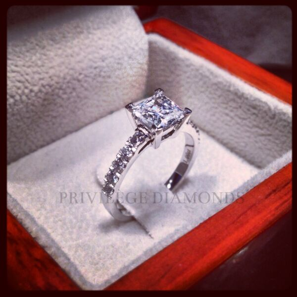1ct Carat Princess Cut Diamond VVS1 F Color Solitaire Engagement Wedding Ring