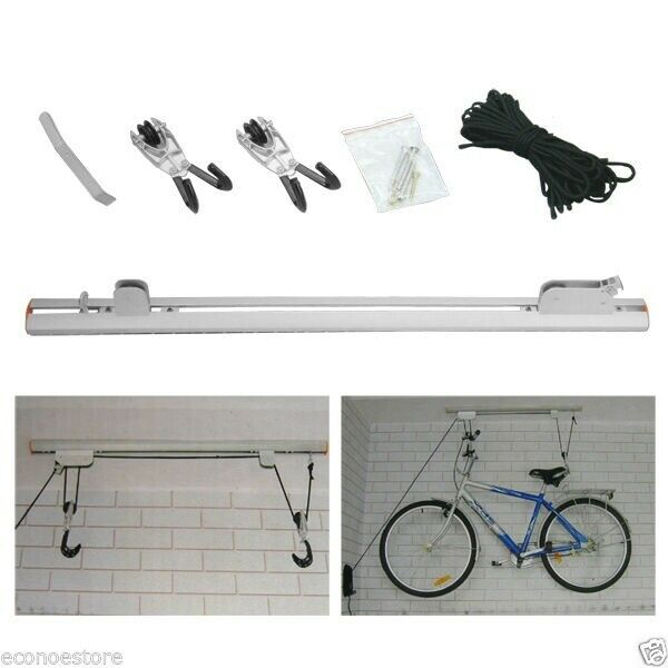 Lot Two Bicycle Rail Mount Lift Aluminum Ceiling Rack Hoist Garage Bike Ladder $46.99