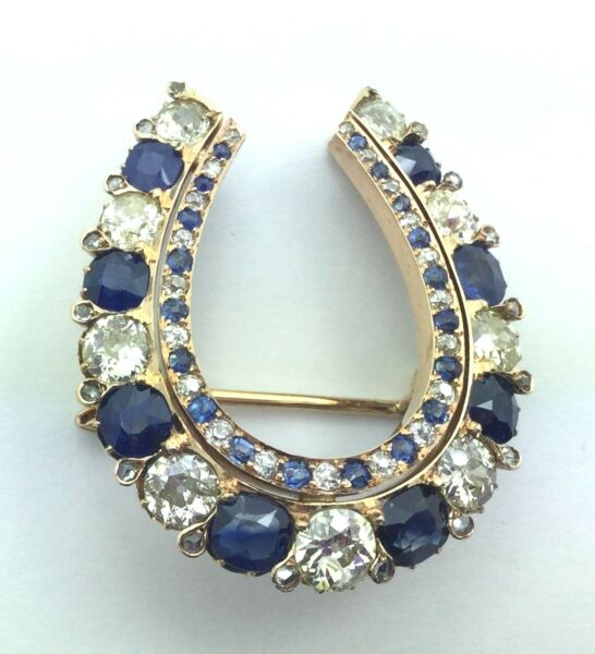 Estate Piece 18K 4.00 ct Diamond & Sapphire Horseshoe Pendant Pin Circa 1880'S