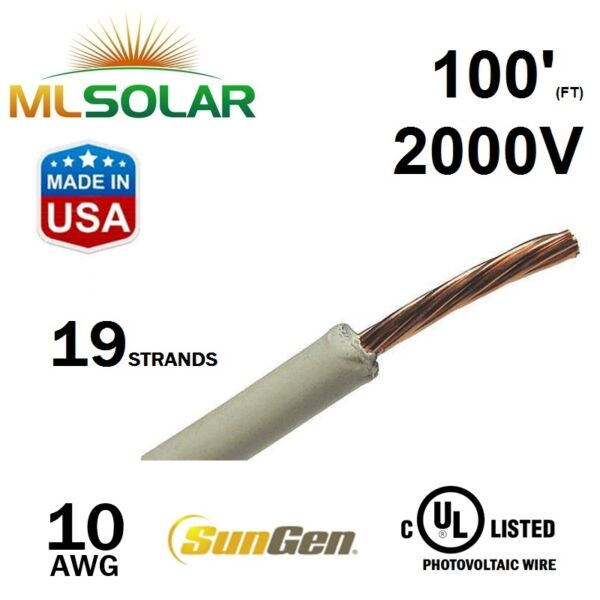 100FT 10 AWG Sungen Solar Panel PV Wire 2000V Cable UL 4703 Copper MADE IN USA