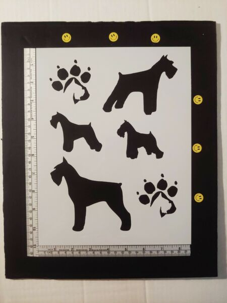 Miniature Schnauzer Dog Dogs Paw Prints 8.5quot; x 11quot; Stencil FAST FREE SHIPPING $12.73
