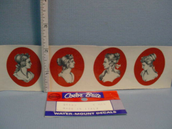 Dollhouse Miniature Water Mount Slide Decals 4 Cameo Portrait #94489 $4.99