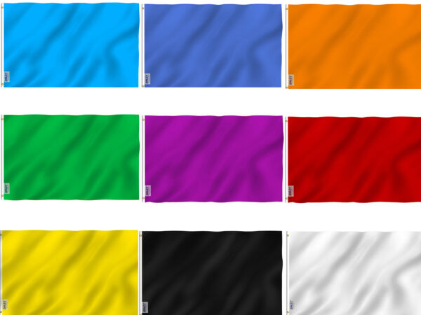 ANLEY Solid Color Flag Black White Red Blue Green Yellow purple Banner 3x5 Flag