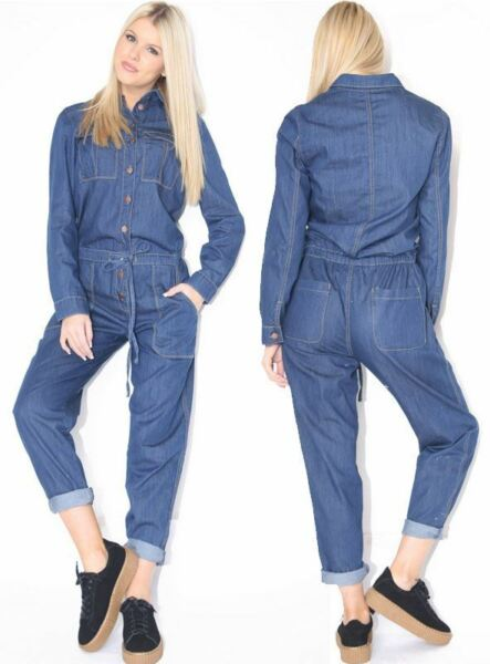 New Womens Ladies Denim Long Sleeve Jumpsuit Boilersuit UK Size 6-14